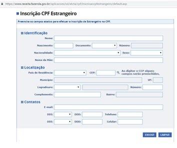 Formulario para OBTENER EL CPF . Peruanos en brasil